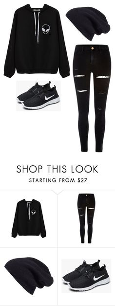 """HACKED BY PRINCXSSB KNOWN AS JAMA AHAHA"" by faseeha-noor ❤ liked on Polyvore featuring River Island, Halogen and NIKE"