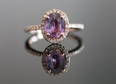 Absolute dream ring!! Plum oval sapphire diamond ring (Diamond setting is 14 rose gold, TDW is approx. 0.25ct.)