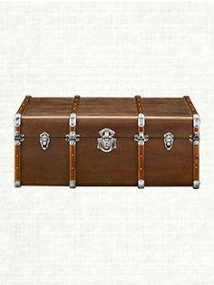 "Halifax 36"" Rectangle Beligan Linen Trunk Coffee Table In Brown Arhaus Furniture"