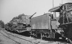 Late tanks Tiger I of the Schwere Panzer-Abteilung 503. Rail transport of Nazi enslaved France, 1944. The Allies would soon defeat the krauts in France and the War would be over in early May, 1945