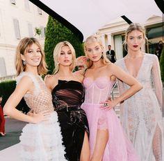 Camila Morrone, Hailey Baldwin, Elsa Hosk and Martha Hunt at the Amfar Gala in Cannes