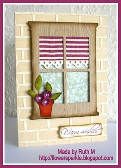 Flower Sparkle: Warm Wishes Window Card made with the Madison Window die.