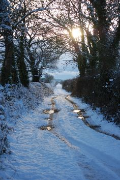 Sunset on a Winter's day Winter sunset on a country road (no location given) by Sharon Jones-Williams Winter Sunset, Winter Love, Winter Scenery, Winter Walk, Winter Snow, Winter Magic, Snow Scenes, Winter Beauty, Winter Photography