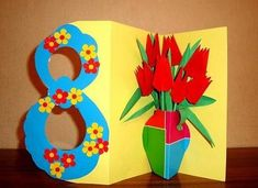 Cards for Women's Day on March – Preschool Team Forum Site -… – DIY Easy Diy Gift Box, Diy Gifts, Kirigami Templates, Diy For Kids, Crafts For Kids, Easter Flower Arrangements, Diy And Crafts, Paper Crafts, Origami