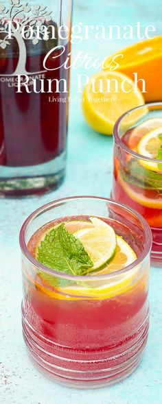 Celebrate summer with this Pomegranate Citrus Rum Punch! Sweet PAMA Pomegranate Liqueur paired with lemonade, lemon lime soda, and rum for a splash of summer fun. Plus a recipe video! #sponsored #PAMACelebrateSummer @pamaliqueur