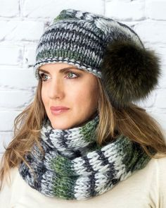 bf63c2983bf Winter hats grey wool slouchy beanie with fur pompom Chunky Knit Scarves