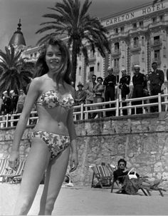 A 19 year old Brigitte Bardot at a beach in Cannes, 1953.