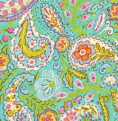 1 Yard Quilt Fabric McKenzie Paisley Aqua Floral Fabric Dena Designs.