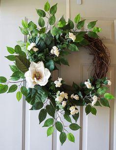 Magnolia Wreath Roses Magnolia Wreath Cream White Green