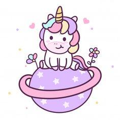 Illustrator of cute unicorn Premium Vector