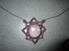 collier macramé,quartz rose