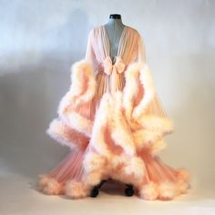 Image of Peach Cassandra Dressing Gown