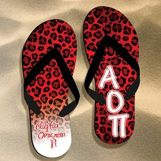 Alpha Omicron Pi Cheetah Print Flip Flops $17.95 #Greek #Sorority #FlipFlops #Beach #Summer #AlphaOmicronPi #AOPi #Cheetah