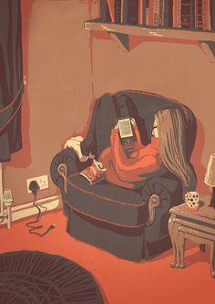 Digital reading (illustration by Fiona Creates) I Love Books, Good Books, Books To Read, Reading Art, I Love Reading, Reading Time, Reading Nook, Tumblr Book, Illustrations