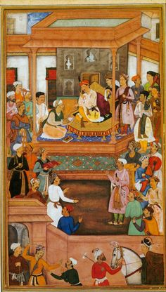 "Mughal miniature of Abu'l-Fazl ibn Mubarak presenting the Akbarnama to Akbar. ""The Akbarnāma which literally translates to Book of Akbar, is the official chronicle of the reign of Akbar, the third Mughal Emperor (r. 1556–1605), commissioned by Akbar himself by his court historian and biographer, Abul Fazl who was one of the nine jewels in Akbar's court. It includes vivid and detailed descriptions of his life and times."""