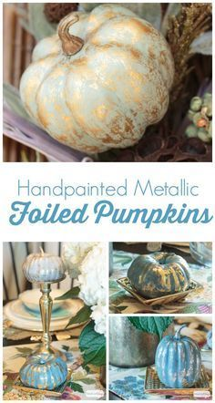 Give inexpensive foam pumpkins a glitzy makeover with paint and metallic foil. Check out these gorgeous pumpkin decorating ideas. fall and autumn