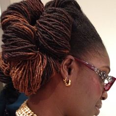 Updo w/what looks like 3in of growth out of Sisterlocks, gorg.
