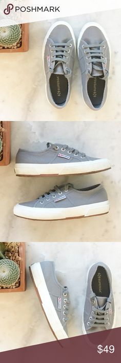 """Superga Classic Cotu Sneakers • Sturdy cotton unlined canvas upper • Lace-up closure with metal eyelets for an adjustable fit • Loop signature tag at side • Cushioned footbed provides sustained comfort for all-day wear • Natural rubber, crepe-textured outsole offers traction and durability • Platform measures approximately 1"""" high • EU 37.5 US 7 • Gray • In excellent pre loved gently worn condition • Slight light marking to rubber from wear Superga Shoes Flats & Loafers"""