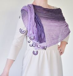 Purple Ombre Scarf, Crochet Lace, Wrinkled Scarf, Women Accessory Fashion Scarf Accessories for Women ReddApple, Fast Delivery - pinned by pin4etsy.com