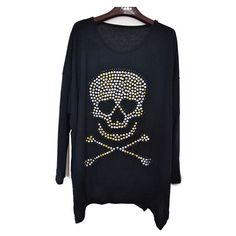 Oversized Black Tops with Studded Skull and Batwing Sleeves ($31) ❤ liked on Polyvore