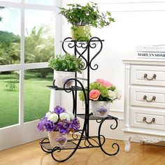 Wrought iron flower multilayer floor balcony bracketplant jardiniere indoor…