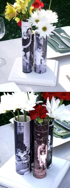 You won't believe this genius Mother's Day craft idea - David makes a DIY vase out of PVC pipe! He added personalized images to make it the perfect gift.