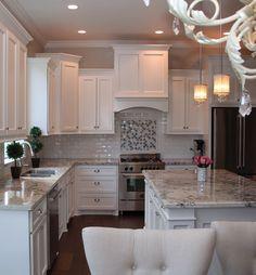 My dream white kitchen! with persia pearl granite.