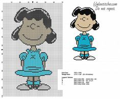 Lucy Peanuts character free cross stitch pattern