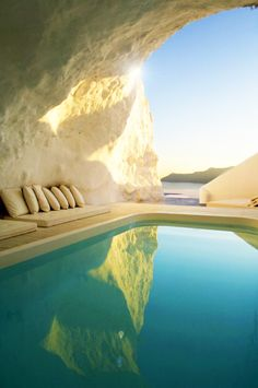 Inviting... #Santorini, Greece - Cave Pool
