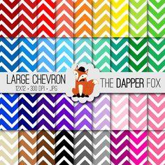 Rainbow Large Chevron Digital Paper Pack - INSTANT DOWNLOAD - 12x12 - 36 colours