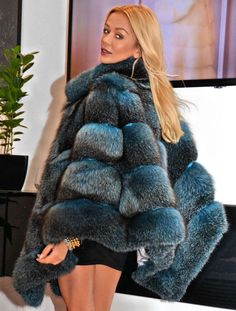 Navy Blue Royal Saga FOX Long Poncho FUR Coat Jacket LIK Sable Mink Lynx Silver | eBay
