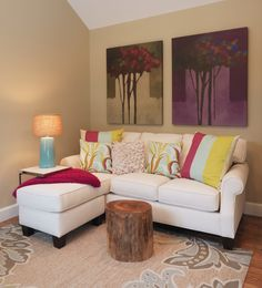 Excellent Small Living Room Ideas Highlighting Calm Paint Colors Schemes With Interesting Art Wall Painting And L Shaped Sofa Which Has Full Sock Arms Plus Thick Padded Pads Includes Sweet Pillows Also Rustic Cylinder Wooden Coffee Table On Cream Patterned Rugs As Well As Images Of Small Living Rooms  Also Ideas For A Living Room Awesome Uncluttered Simple Small Living Room Decorating Ideas