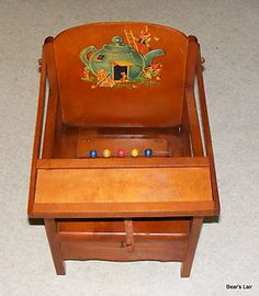 Image detail for -Vintage Wood Childs Potty Booster Chair w Snow White Basin Beads Strap ...
