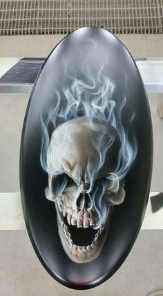 Custom Motorcycle Paint Jobs, Custom Paint Jobs, Motorcycle Art, Bike Art, Chopper Motorcycle, Skull Artwork, Skull Painting, Air Brush Painting, Skull Drawings