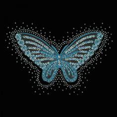 9x6  - BUTTERFLY-BLUE (STN/EMB) - bufferfly embroidery, buterfly, Butterflies, Material Transfer, Ladies Fashion