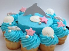 Dolphin Themed Cake and/or Cupcake Toppers - Fondant Dolphin Cupcakes, Dolphin Birthday Cakes, Dolphin Birthday Parties, Dolphin Party, Dolphin Food, Pink Dolphin, Pink Cupcakes, 8th Birthday, Cupcake Toppers