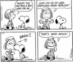 "Peppermint Patty: ""Snoopy, this has been a bad week for me. What can you do when everything seems hopeless?"" Snoopy: *kiss* Peppermint Patty: ""That's good advice. Snoopy Love, Charlie Brown Und Snoopy, Snoopy And Woodstock, Snoopy Comics, Peanuts Cartoon, Peanuts Snoopy, Peanuts Comics, Snoopy Cartoon, Peanuts Movie"