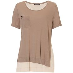 Betty Barclay Layered T-Shirt, Taupe/Beige ($65) ❤ liked on Polyvore featuring tops, t-shirts, layering t shirts, short sleeve tops, double layer top, short sleeve t shirt and taupe tops