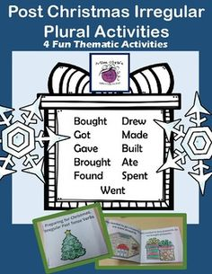 This resource includes activities to do with your students when they come back from Christmas break.(4) Activities:Irregular Plural Fill-in the BlankStudents use the word bank to complete the winter break story.Irregular Plural Mini Flip BookStudents create a flip book about the activities done over winter break.