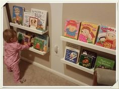 Just finished these custom bookshelves for my 1-year-old daughter's bedroom. Really fast and easy to build but super functional! Idea from shanty-2-shic.com