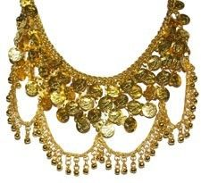 Metal Coin Necklace with Bell Swags - GOLD  http://www.bellydance.com/Metal-Coin-Necklace-with-Bell-Swags--GOLD_p_2573.html