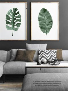 Palm Leaf Canvas Art Print Green Watercolor Painting set 2 Botanical Living Room Wall Decoration, Banana Tree Tropical Monstera Palm Leaf is part of Living Room Plants Rustic - ColorWatercolor Living Room Green, Living Room Paint, Living Room Sets, Living Room Interior, Living Room Designs, Living Room Decor, Watercolor Paint Set, Green Watercolor, Room Posters