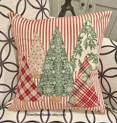 Celebrate the Season with our Christmas Trees Pillow Cover featured from our Red Ticking Christmas Collection. We are all about the simple and pleasing design of the red and white stripes embellished with 5 fabric Christmas Trees in coordinating colors of Farmhouse Christmas Decor, Rustic Christmas, Christmas Holidays, Plaid Christmas, All About Christmas, White Christmas, Christmas Vacation, Christmas Quotes, Christmas Movies