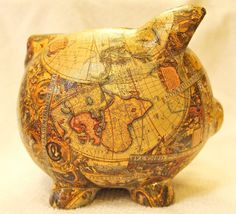 Old World Map Decoupage Ceramic Piggy Bank  by LilandJilDesigns, $30.00