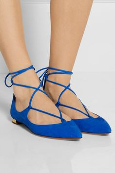Aquazurra - 'Christy' suede flats in Mondrian blue, $675
