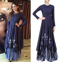 Raveena R Tandon in Label Debashri Samanta's Indigo and Light Blue Rose and Triangle Jamdani Brocade Motifs Maxi Dress.  #getthelook #raveenatandon #debashrisamanta #contemporarywear #celebcloset #celebstyle #indiandesigners #indianfashion #shopnow #perniaspopupshop #happyshopping