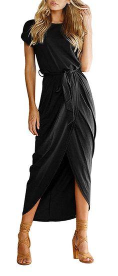 e1d2633661f8 Yidarton Women s Casual Short Sleeve Slit Solid Party Summer Long Maxi Dress