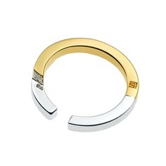 Simply Complex  18K Gold and Rhodium plated 2.5mm ring with Swarovski pave crystals Stella Valle logo engraved on the bottom Made in USA