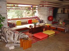 all interior elements of frank lloyd write's falling water