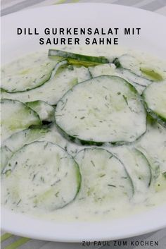 Dill cucumber salad with sour cream - too lazy to cook? - Dill cucumber salad with sour cream - Salmon Salad Recipes, Fresh Salad Recipes, Cucumber Recipes, Healthy Salad Recipes, Feta, Cucumber Dill Salad, Great Appetizers, Different Recipes, Sour Cream